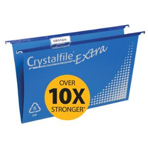 CRYSTALFILE SUSPENSION FILES  EXTRA  STRENGTH FOOLSCAP BLUE - BOX OF 20