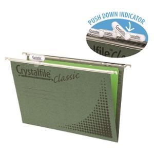 CRYSTALFILE SUSPENSION FILES  HORIZONTAL FILE + TAB FOOLSCAP GREEN - BOX OF 50