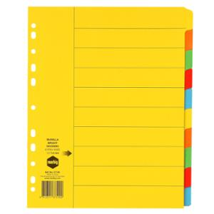 MARBIG DIVIDERS  10-TAB CARDBOARD A4ASSORTED - EACH