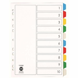 MARBIG DIVIDERS  10 TAB POLYPROPYLENE A4ASSORTED BRIGHT - EACH