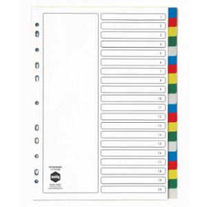 MARBIG DIVIDERS  20 TAB POLYPROPYLENE A4ASSORTED BRIGHT  - EACH
