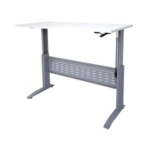 RAPID ELECTRIC HEIGHT ADJUSTABLE DESK 1800 X 700 COMPLETE WHITE TOP/SILVER -EACH