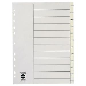 MARBIG DIVIDERS  JAN-DEC POLYPROPYLENE  A4WHITE  - EACH