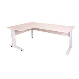 RAPID CORNER WORKSTATION 1800WX1200WX700D TIMBER MODESTY WHITE TOP/WHITE - EACH