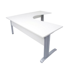 RAPID CORNER WORKSTATION 1800WX1500WX700D TIMBER MODESTY WHITE TOP/SILVER - EACH