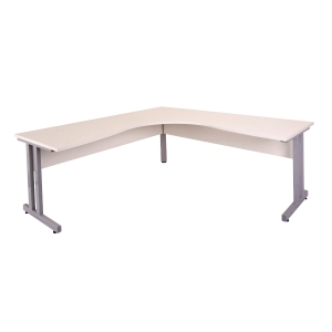RAPID CORNER WORKSTATION 1800WX1800WX700D TIMBER MODESTY CLEG WHITE/SILVER -EACH
