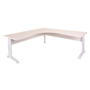 RAPID CORNER WORKSTATION 1800WX1800WX700D TIMBER MODESTY PANEL WHITE TOP/WHITE -