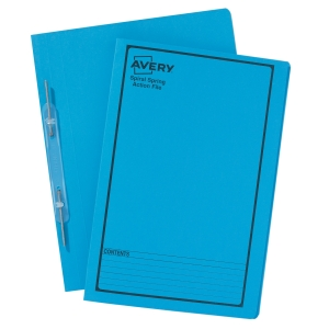 AVERY BLUE SPIRAL SPRING ACTION FILE WITH BLACK PRINT, FOOLSCAP, 25 FILES