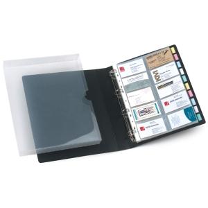 MARBIG BUSINESS CARD BINDER 4D-RING 500-CARD CAPACITY BLACK - EACH