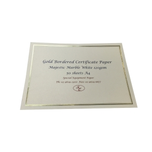 MAJESTIC MARBLE WHITE 120 GSM A4 CERTIFICATES GOLD BORDER - PACK OF 50
