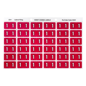 AVERY 1 SIDE TAB COLOUR CODING LABELS FOR LATERAL FILING, MAGENTA, 180 LABELS