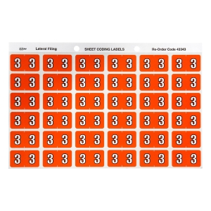 AVERY 3 SIDE TAB COLOUR CODING LABELS FOR LATERAL FILING, D/ORANGE, 180 LABELS
