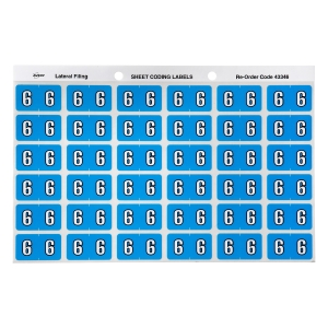 AVERY 6 SIDE TAB COLOUR CODING LABELS FOR LATERAL FILING, BLUE, 180 LABELS