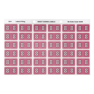 AVERY 8 SIDE TAB COLOUR CODING LABELS FOR LATERAL FILING, MAUVE, 180 LABELS