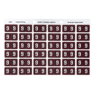 AVERY 9 SIDE TAB COLOUR CODING LABELS FOR LATERAL FILING, BROWN, 180 LABELS