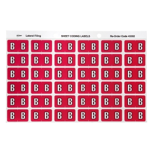 AVERY B SIDE TAB COLOUR CODING LABELS FOR LATERAL FILING, MAGENTA, 180 LABELS