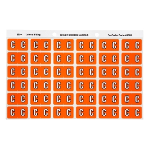 AVERY C SIDE TAB COLOUR CODING LABELS FOR LATERAL FILING, ORANGE, 180 LABELS