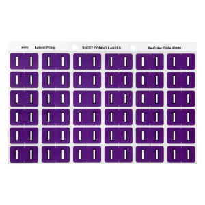AVERY I SIDE TAB COLOUR CODING LABELS FOR LATERAL FILING, PURPLE, 180 LABELS
