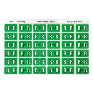 AVERY R SIDE TAB COLOUR CODING LABELS FOR LATERAL FILING, L/GREEN, 180 LABELS