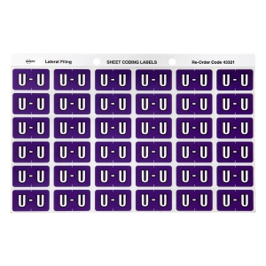 AVERY U SIDE TAB COLOUR CODING LABELS FOR LATERAL FILING, PURPLE, 180 LABELS