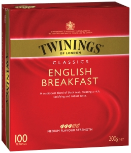 TWININGS ENGLISH BREAKFAST TEA BAGS STRING & TAG - BOX OF 100