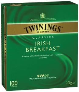 TWININGS IRISH BREAKFAST TEA BAGS STRING & TAG - BOX OF 100