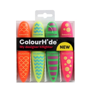 COLOURHIDE MY DESIGNER HIGHLIGHTERS ASSORTED - PACK OF 4