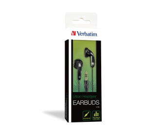 VERBATIM EARBUD HEADPHONE BLACK - EACH