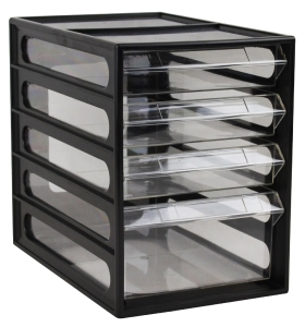 ITALPLAST OFFICE ORGANISER CABINET 4 DRAWER BLACK - EACH