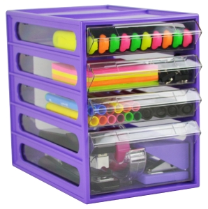 ITALPLAST OFFICE ORGANISER CABINET 4 DRAWER GRAPE - EACH