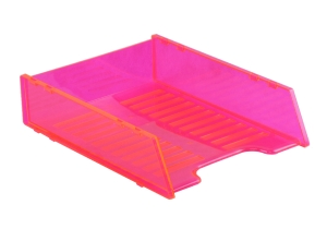 ITALPLASR MULTI FIT A4 DOCUMENT TRAY NEON RED - EACH