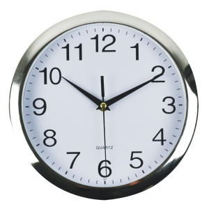 ITALPLAST WALLCLOCK 26CM CHROME TRIM WITH WHITE FACE - EACH
