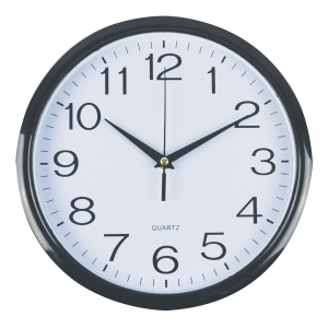 ITALPLAST PLASTIC WALLCLOCK 30CM WHITE + BLACK TRIM - EACH