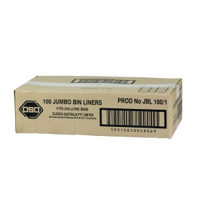 OSO HEAVY DUTY GARBAGE BAGS 240L BLACK- PACK OF 100