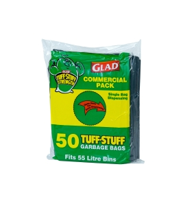 GLAD GARBAGE BAGS 55L GREEN - PACK OF 50