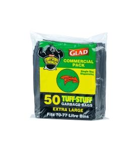 GLAD GARBAGE BAGS 70 -77L BLACK - PACK OF 50