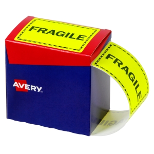AVERY FRAGILE LABELS, 75X99.6MM, FLUORO YELLOW, 750 LABELS