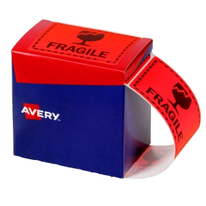 AVERY FRAGILE LABELS, 75X99.6MM, ORANGE, 750 LABELS