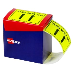 AVERY THIS WAY UP LABELS, 75X99.6MM, FLUORO YELLOW, 750 LABELS
