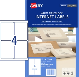 AVERY INTERNET SHIPPING LABELS FOR INKJET PRINTERS, 99.1X139MM, 40 LABELS L7169
