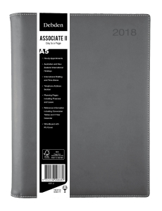 DEBDEN ASSOCIATE II WIRO BOUND DAY TO A PAGE A5 GREY - EACH