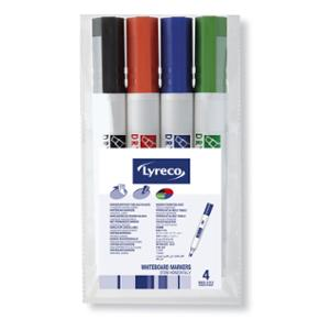 LYRECO DRYWIPE CHISEL TIP WHITEBOARD MARKER 2-4.5MM ASSORTED - WALLET OF 4