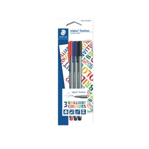STAEDTLER 334 TRIPLUS FINELINER MIX COLOR PEN - PACK OF 3
