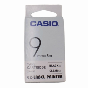 Casio XR-9X1 Tape 9mm x 8m Black on Clear