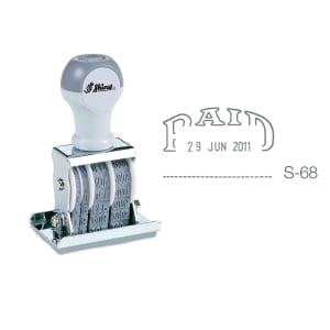 SHINY S-68 DATER STAMP WITH TEXT PAID
