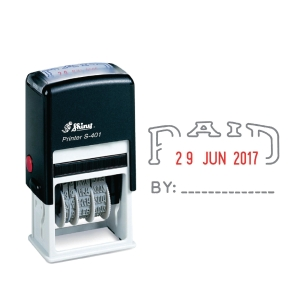 Shiny S-401 PAID Self-Inking Dater Stamp 2-Colour