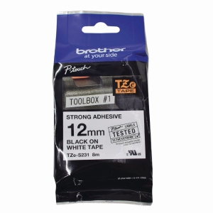 Brother TZE Labelling Tape Black/ White 8mm X 12m