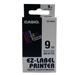 Casio XR-9WE1 Labelling Tape 9mm X 8m Black/ White