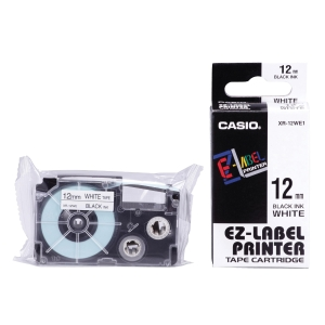 Casio XR-12WE1 Labelling Tape 12mm X 8m Black/White