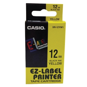 Casio XR-12YW1 Labelling Tape 12mm X 8m Black/Yellow